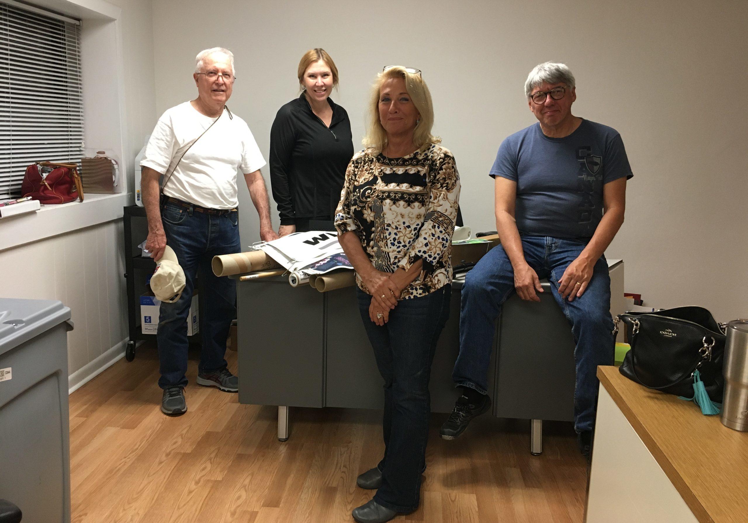 NPHF in office volunteers Spence Guerin Ann Sims Alise Edison Jeff Dalton
